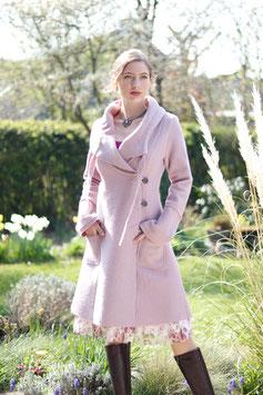 Mantel gewalkte Wolle mit Kragen pastell rosa