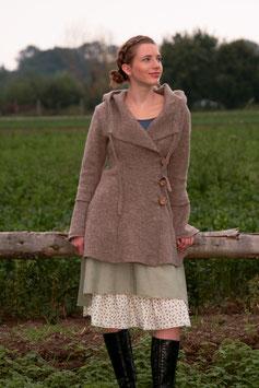 Kurzmantel mit Kapuze gewalkte Wolle hellbraun