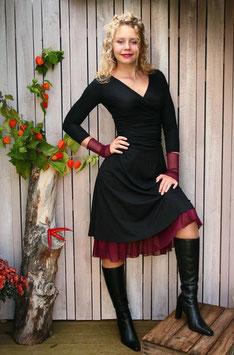 Jerseykleid Raffung schwarz