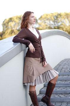 Kordrock mit Baumwollrüsche und Jerseybund hellbraun