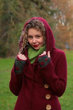 Mantel mit Kapuze gewalkte Wolle kirschrot