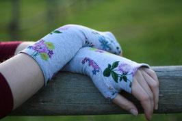 Baumwollstulpen Daumenloch grau mit Blumen