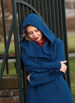 Mantel mit Kapuze gewalkte Wolle königsblau