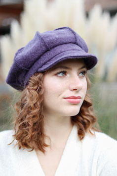 Ballonmütze Kappe aus Wolle lila