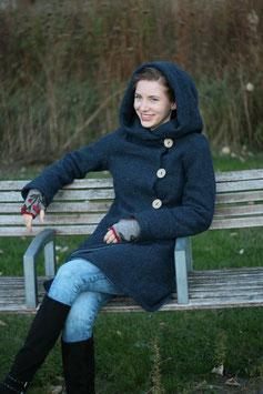 Wintermantel Wollmantel gefüttert jeansblau