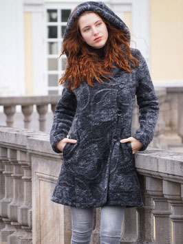 Wintermantel Wollmantel gefüttert grau schwarz mt Paisleymuster hellgrau