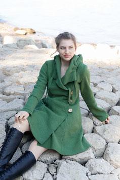Mantel mit Kapuze gewalkte Wolle grün