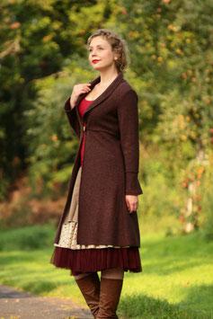 Mantel Gehrock gewalkte Wolle braun