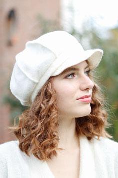 Ballonmütze Kappe aus Wolle cremeweiß