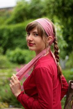 Haarband lang rot weiß Karomuster
