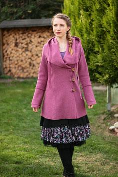Kurzmantel mit Kapuze gewalkte Wolle altrosa