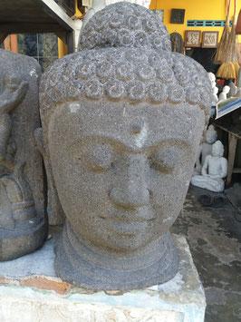 Tête de bouddha en Pierre volcanique - 80 cm