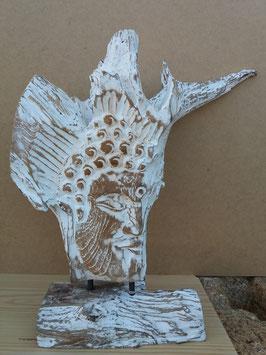 Tête de bouddha racine sur pied de bois 4