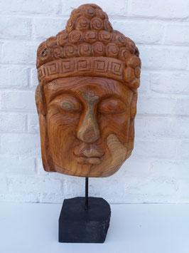 Tête de bouddha racine sur pied en pierre 2