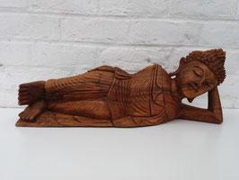 Bouddha couché en bois - 50 cm