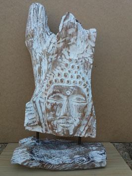 Tête de bouddha racine sur pied de bois 6