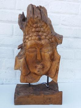 Tête de bouddha racine sur pied de bois 2