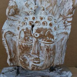 Tête de bouddha racine sur pied de bois 5