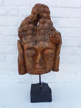 Tête de bouddha racine sur pied en pierre 5