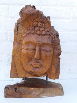 Tête de bouddha racine sur pied de bois 3