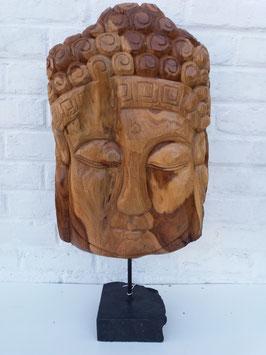 Tête de bouddha racine sur pied en pierre 3