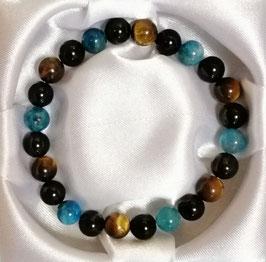 Bracelet Obsidienne, Tigre, Apatite bleue