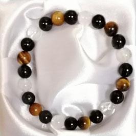 Bracelet Œil de tigre, Obsidienne œil céleste, Cristal de roche