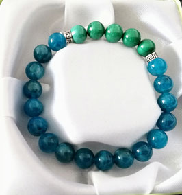 Bracelet Apatite bleue + Malachite