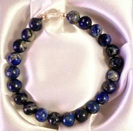 Bracelet Lapis lazuli + une perle de cristal de roche