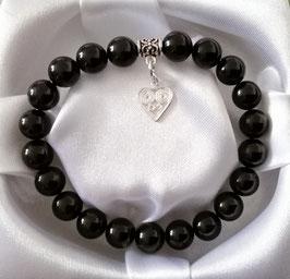 Bracelet Obsidienne Œil Céleste + argent 925