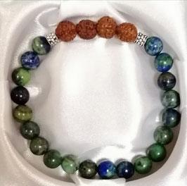 Bracelet Azurite Malachite et perles de Rudraksha