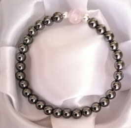 Bracelet Hématite perles 6 mm + Quartz Rose