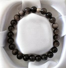 Bracelet Obsidienne argentée