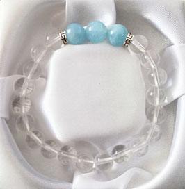 Bracelet Cristal de Roche + Aige-Marine + argent 925
