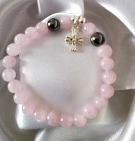 Bracelet Quartz rose, Hématite