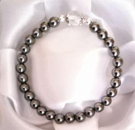 Bracelet Hématite perles 6 mm + Cristal de roche + argent 925