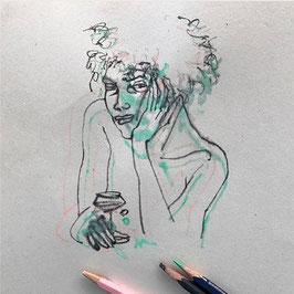 Mirada / dibujo original a dos lápices sobre papel
