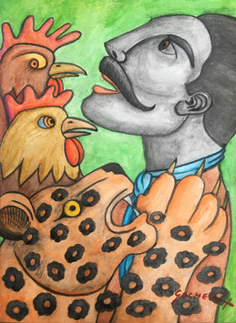 Zapata with rooster and a jaguar/ Mixed media
