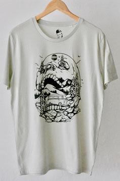 """Camiseta """"Outdoor Skull"""". 100% algodón orgánico! Opal."""