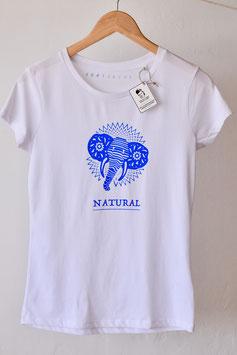 """Camiseta para chica """"elefante blanco y azul"""". 100% algodón orgánico!"""