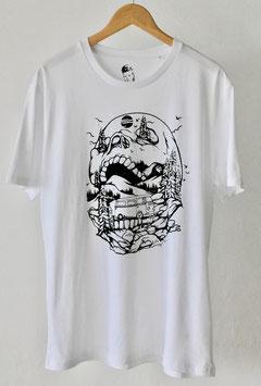"""Camiseta """"Outdoor Skull"""". 100% algodón orgánico! Blanco y negro."""