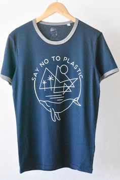 "Camiseta ""proactive""unisex, blue-retro, ""say no to plastic"". 100% algodón orgánico!"