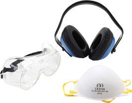Kit di protezione con mascherina cuffie e occhiali