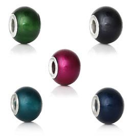 Grosslochperlen Rund Glas, Set mit 5 Farben