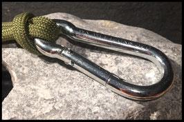 Karabiner aus Metall, Farbe Silber, 40+50mm
