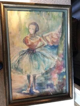 nr: 760 vintage aquarel ballerina achter glas