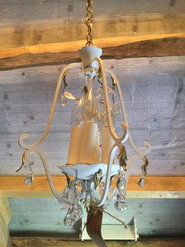 nr: POR01 vintage klein hanglampje metaal met peer/blaadjes glaspegels