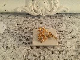 nr: 2085 gouden broche twee bloemen strass