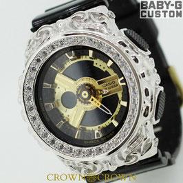 BABY-G ベビージー カスタム レディース 腕時計 レディース時計 BA110 BA110-1A 唐草シルバー 人気 ブランド カスタムベゼル CROWNCROWN BA110-020
