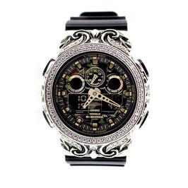 G-SHOCK ジーショック カスタム メンズ 腕時計 GA-100 GA100-CF1A カスタムベゼル 唐草 人気 メンズ カモフラージュ CROWNCROWN GA100-017